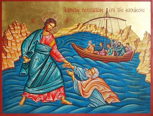 Αποτέλεσμα εικόνας για ο χριστος περπαταει στα κυματα